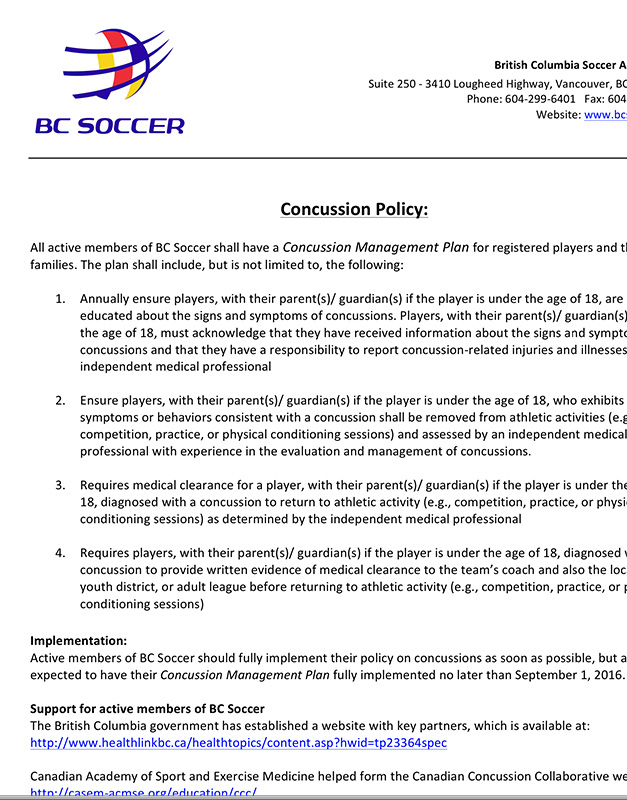 BC Soccer Concussion Policy